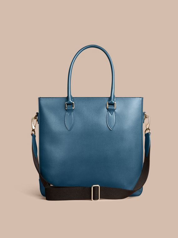 London Leather Tote Bag in Mineral Blue - Men | Burberry - cell image 3