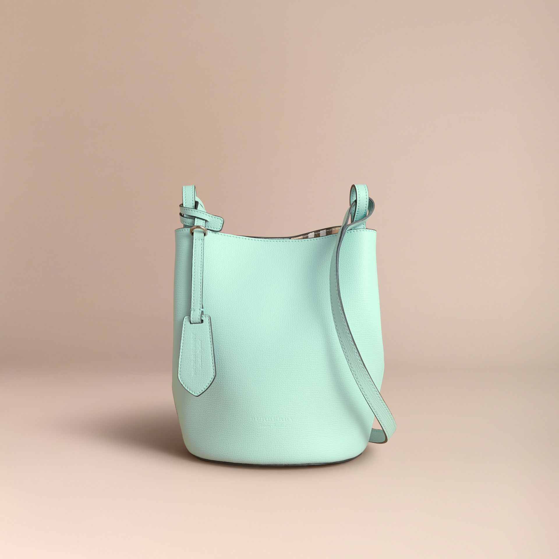 Leather and Haymarket Check Crossbody Bucket Bag in Pale Opal - Women | Burberry - gallery image 6