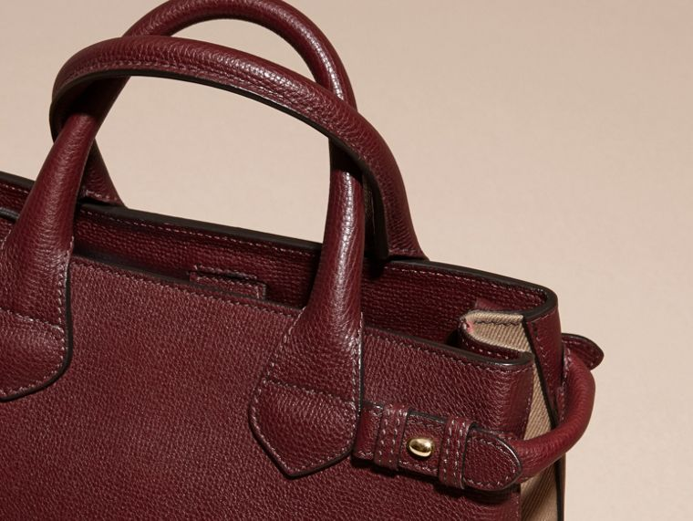 The Small Banner in Leather and House Check in Mahogany Red - Women | Burberry Canada - cell image 1