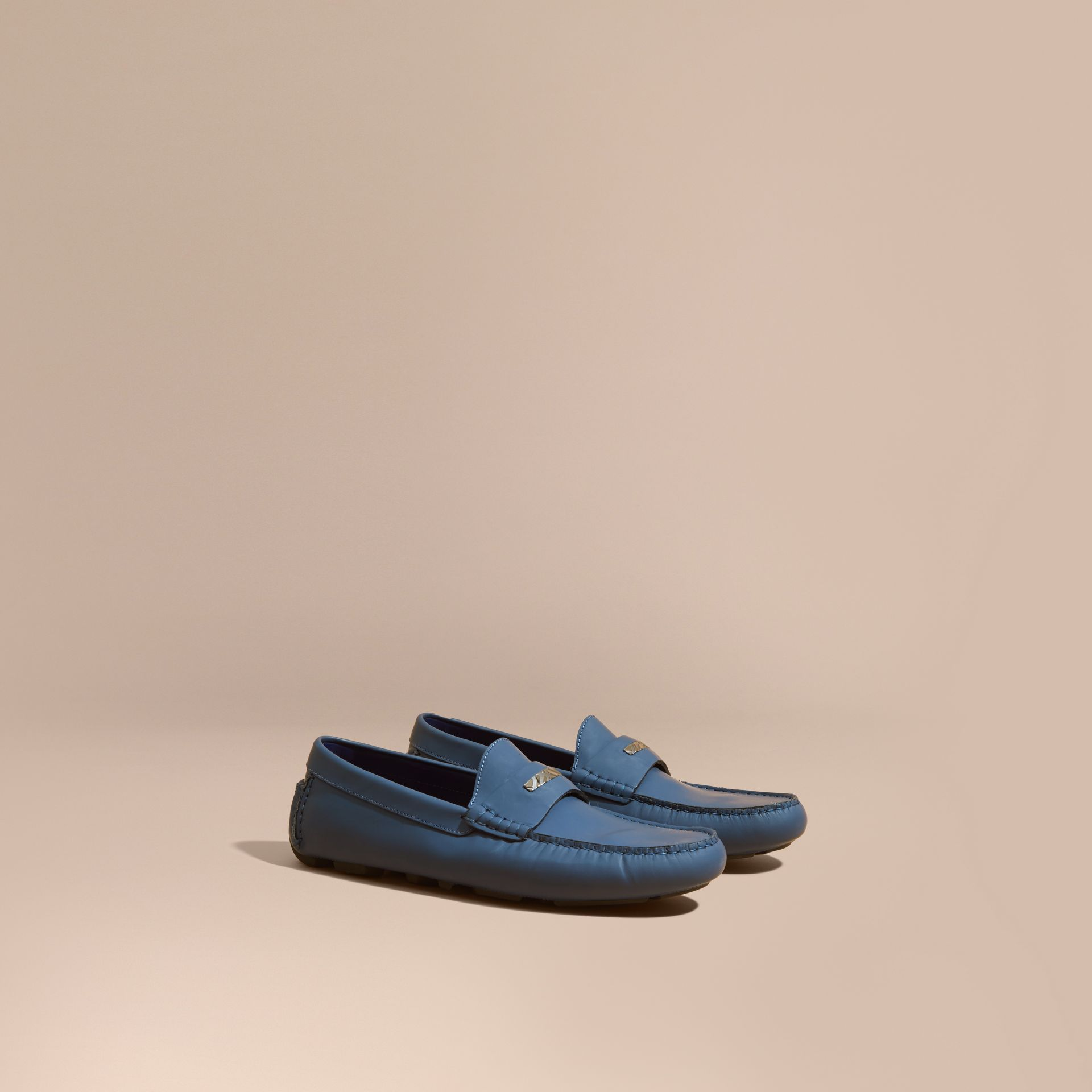 Leather Loafers with Engraved Check Detail Dark Mineral Blue - gallery image 1