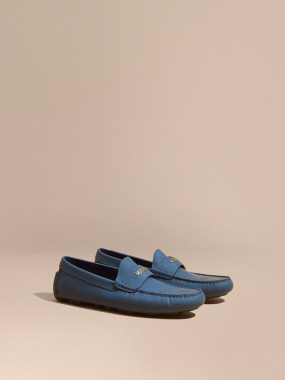 Leather Loafers with Engraved Check Detail Dark Mineral Blue