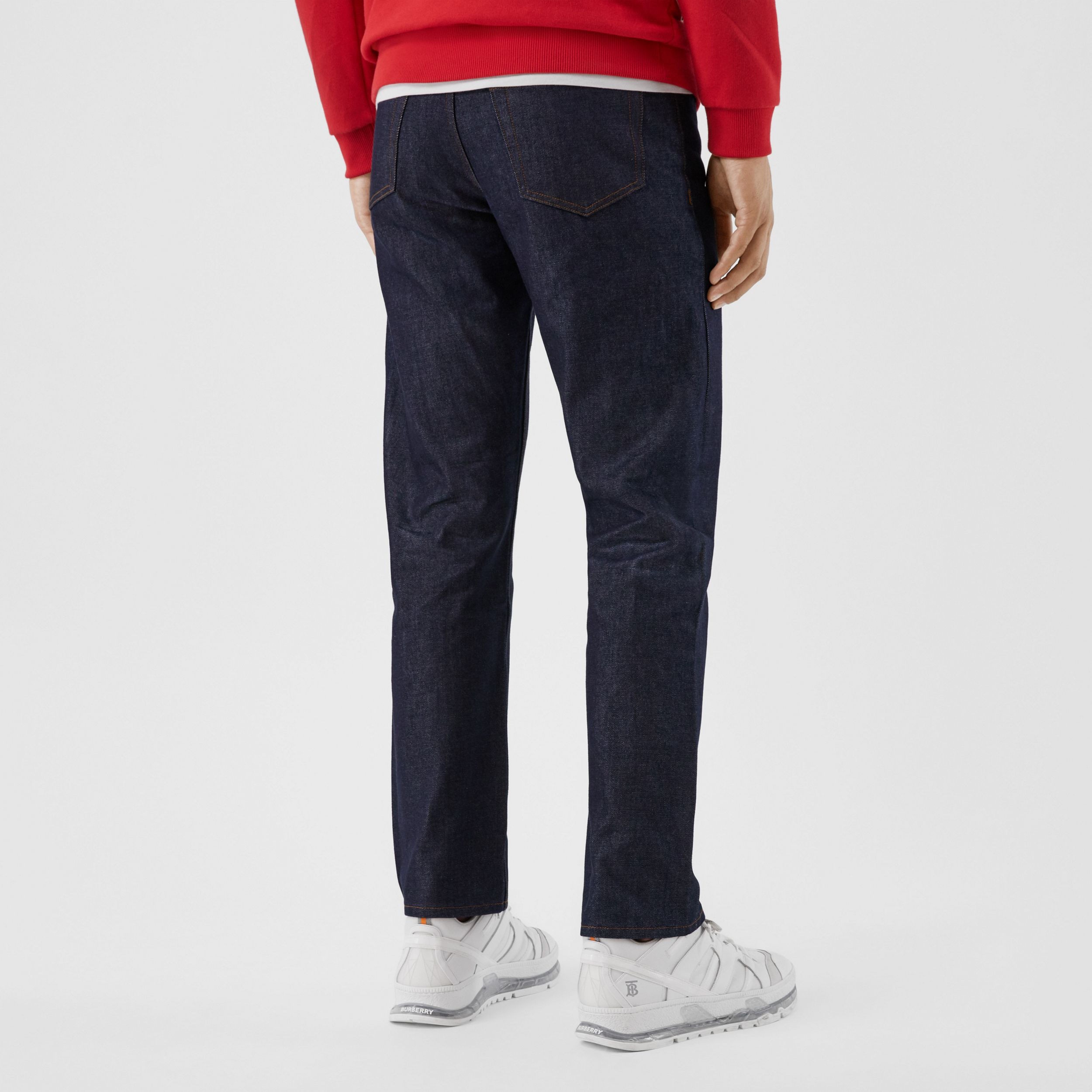 Straight Fit Raw Denim Jeans in Indigo - Men | Burberry - 3