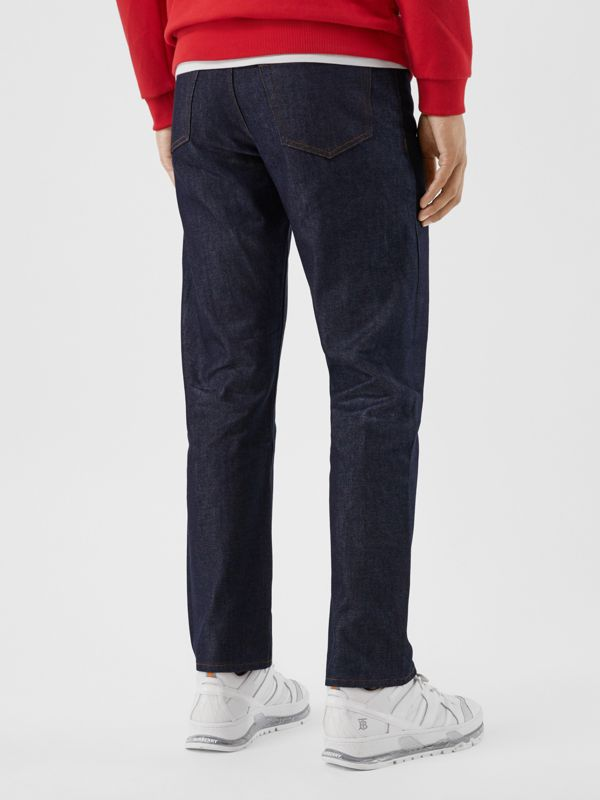 Straight Fit Raw Denim Jeans in Indigo - Men | Burberry - cell image 2