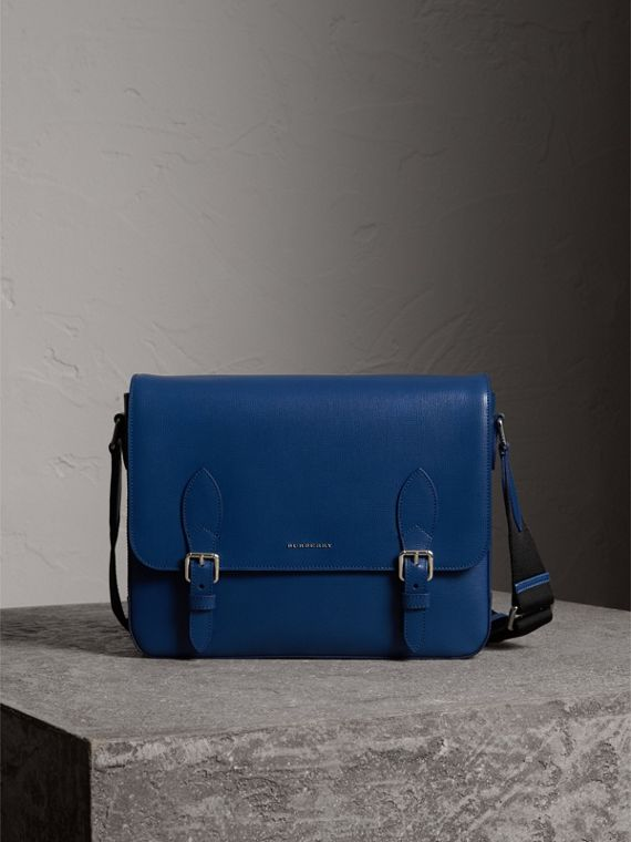 Medium London Leather Messenger Bag in Deep Blue