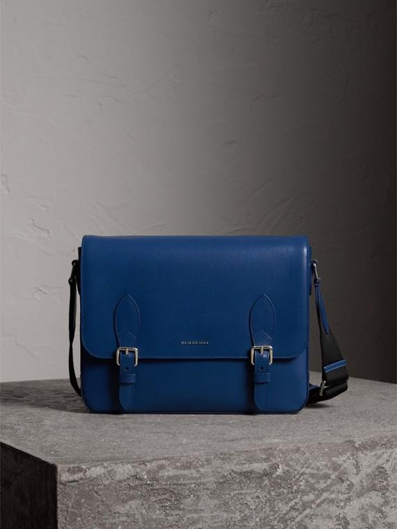Bolsa carteiro média de couro London (Azul Escuro)