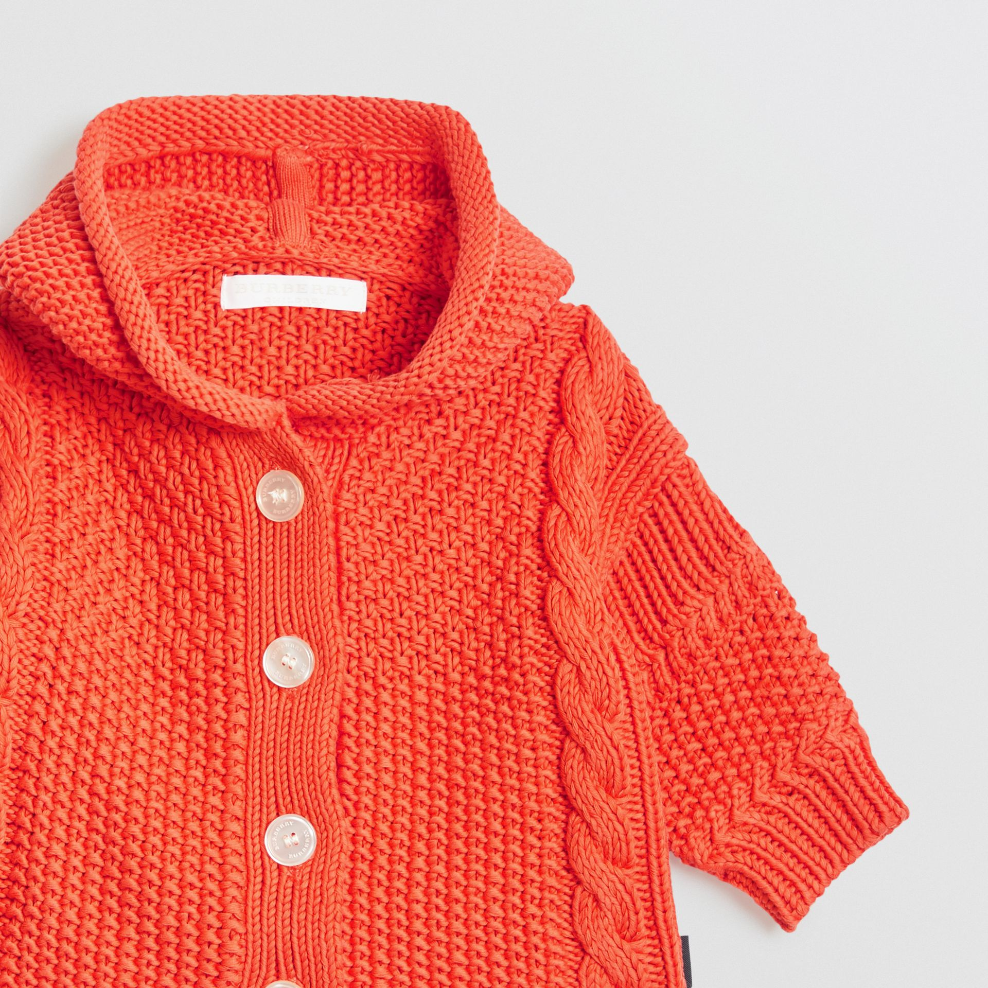 Contrast Knit Cotton Hooded Jacket in Orange Red - Children | Burberry - gallery image 4