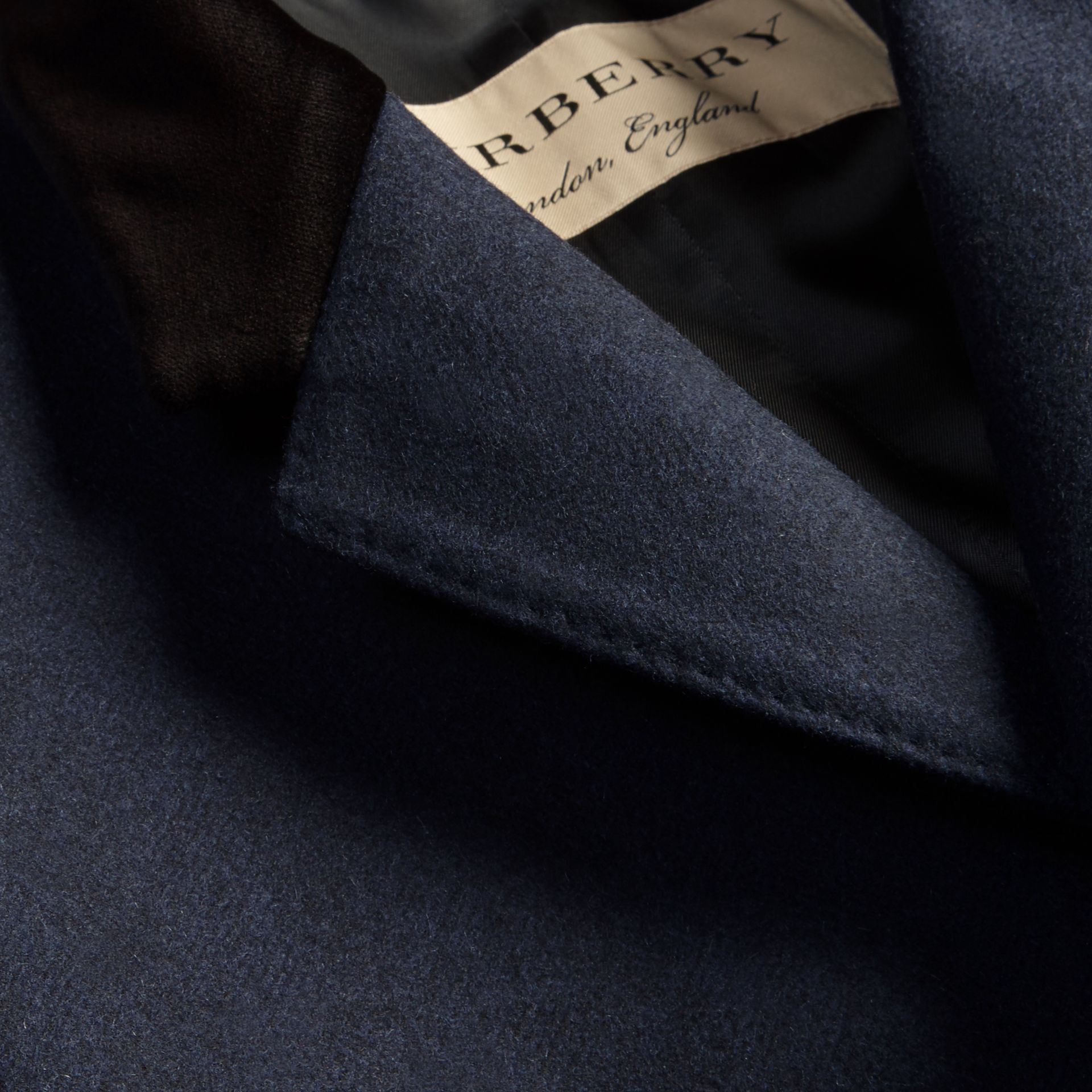 Storm blue Wool Cashmere Coat with Velvet Collar - gallery image 2