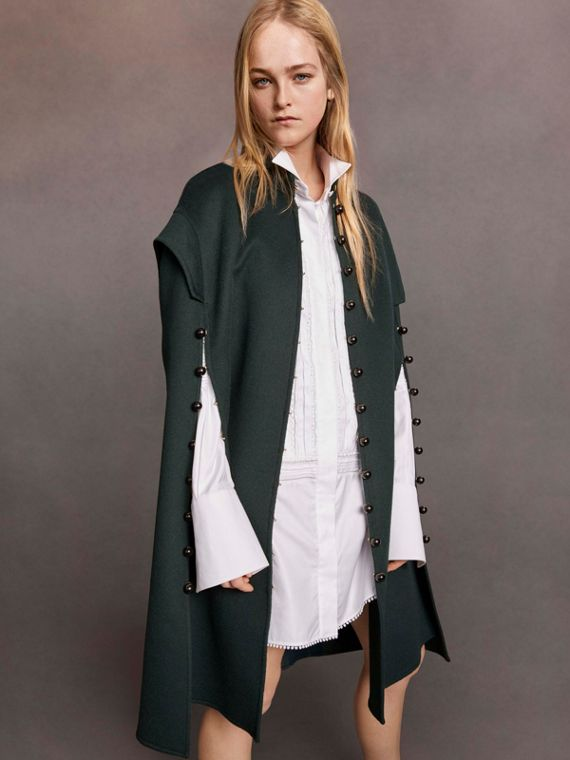 Domed Button Camel Hair Wool Cape - Women | Burberry