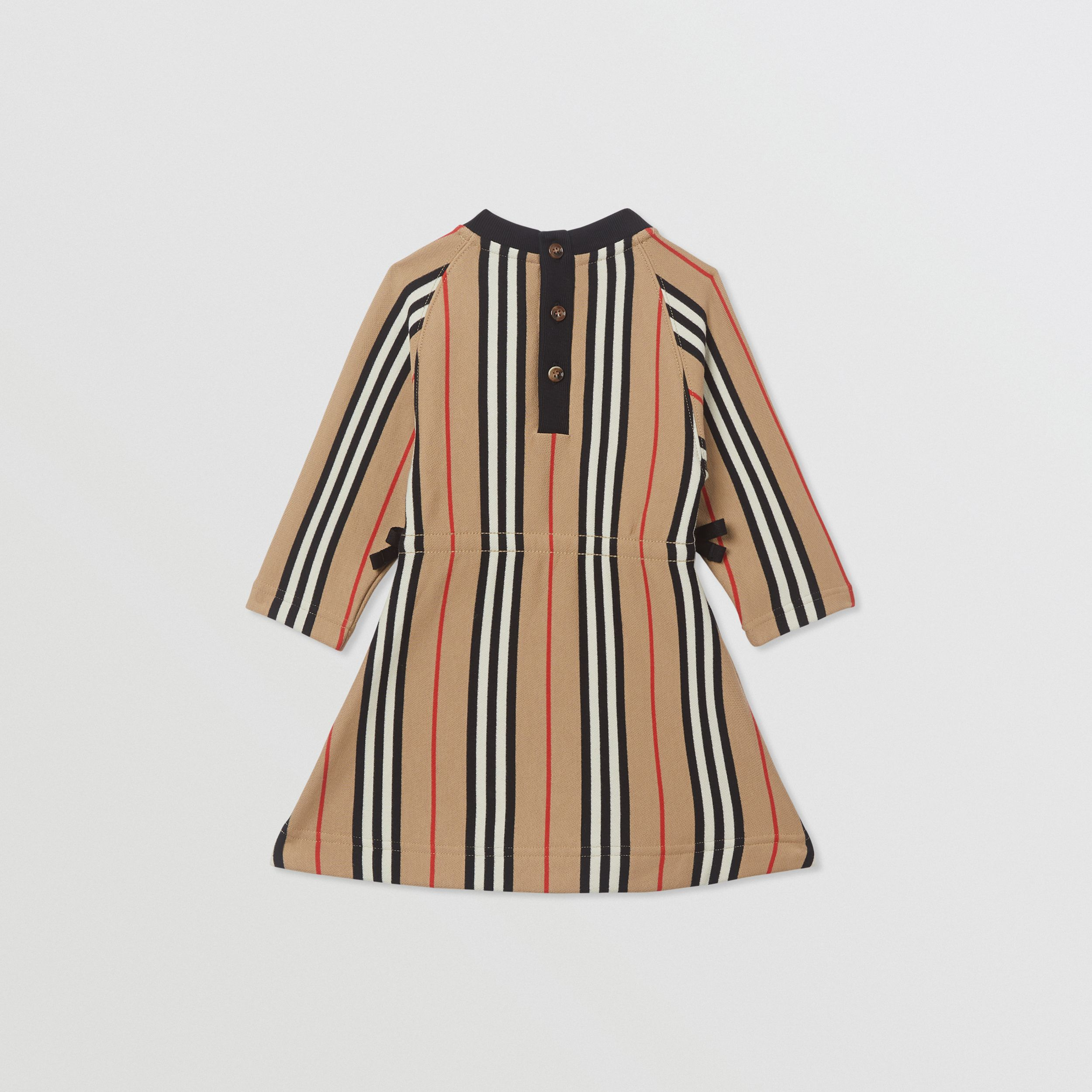 Long-sleeve Icon Stripe Cotton Dress in Archive Beige - Children | Burberry - 4
