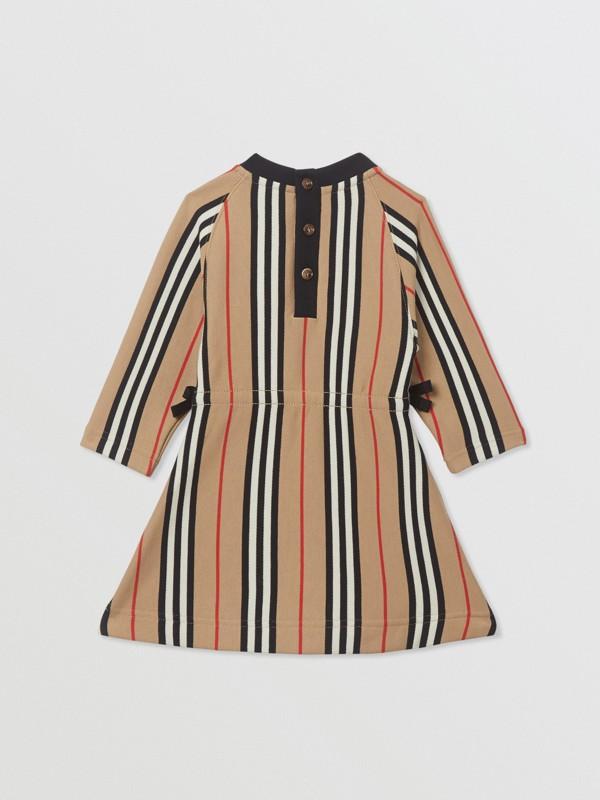 Robe en coton à manches longues avec rayures iconiques (Beige D'archive) - Enfant | Burberry Canada - cell image 3