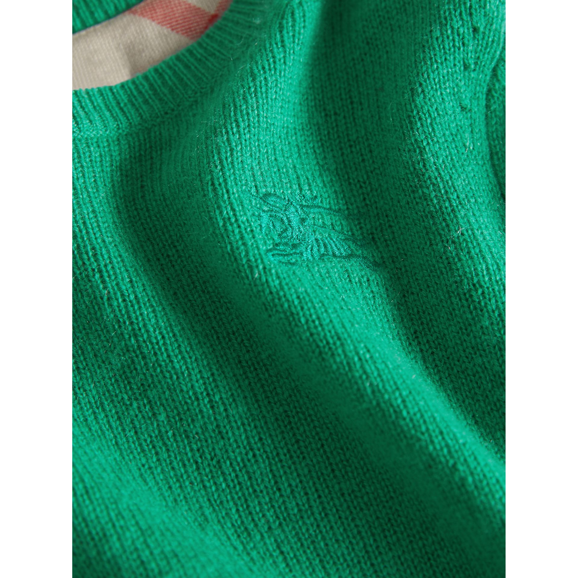 Check Elbow Patch Cashmere Sweater in Bright Green | Burberry - gallery image 2
