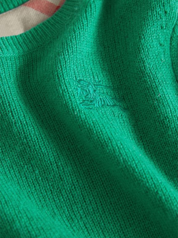 Check Elbow Patch Cashmere Sweater in Bright Green | Burberry - cell image 1