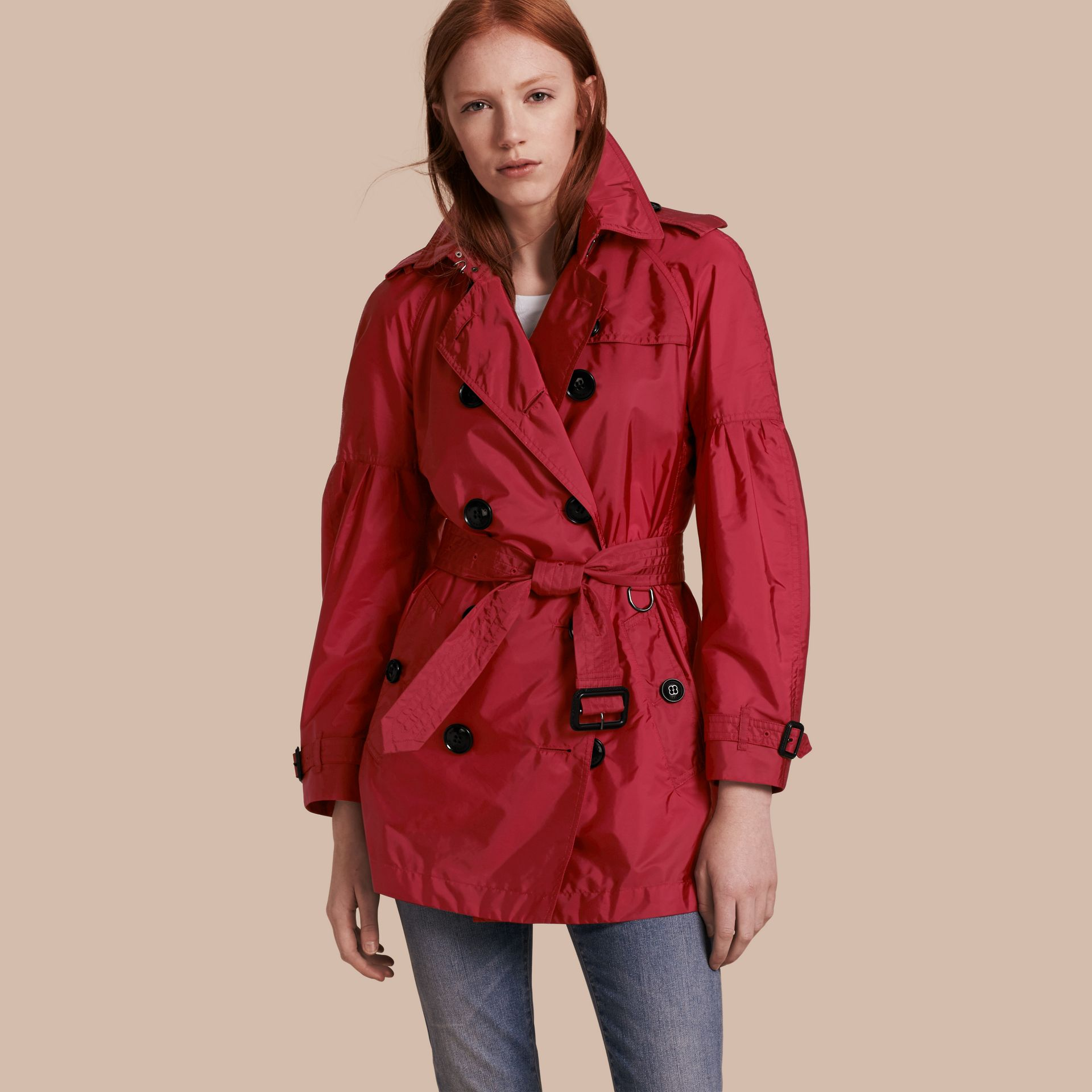 Parade red Packaway Trench Coat with Puff Sleeves - gallery image 7