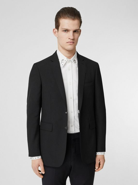 Slim Fit Press-stud Tumbled Wool Tailored Jacket in Black
