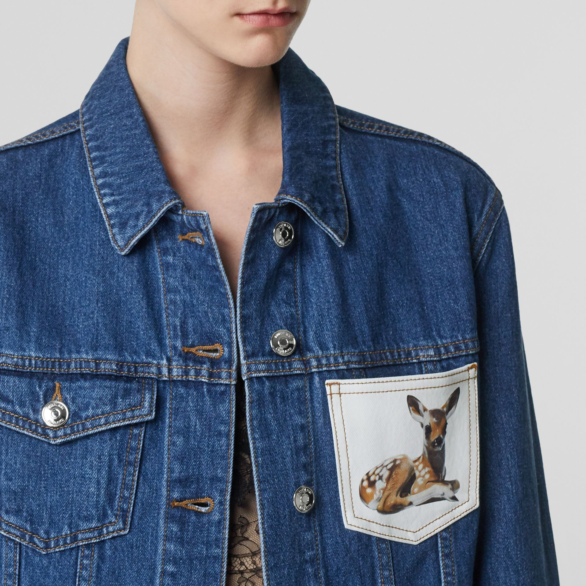 Deer Motif Japanese Denim Jacket in Mid Blue - Women | Burberry - gallery image 1