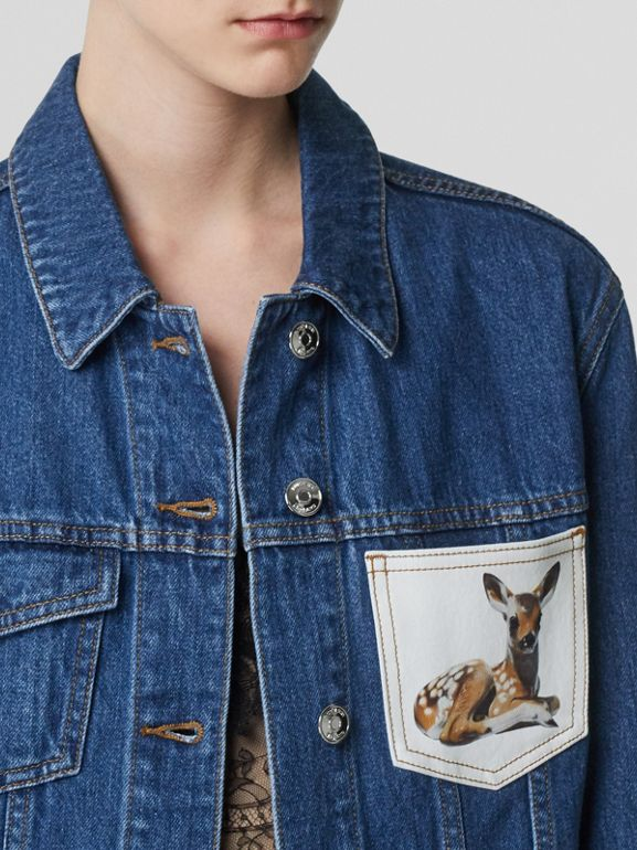 Deer Motif Japanese Denim Jacket in Mid Blue - Women | Burberry - cell image 1