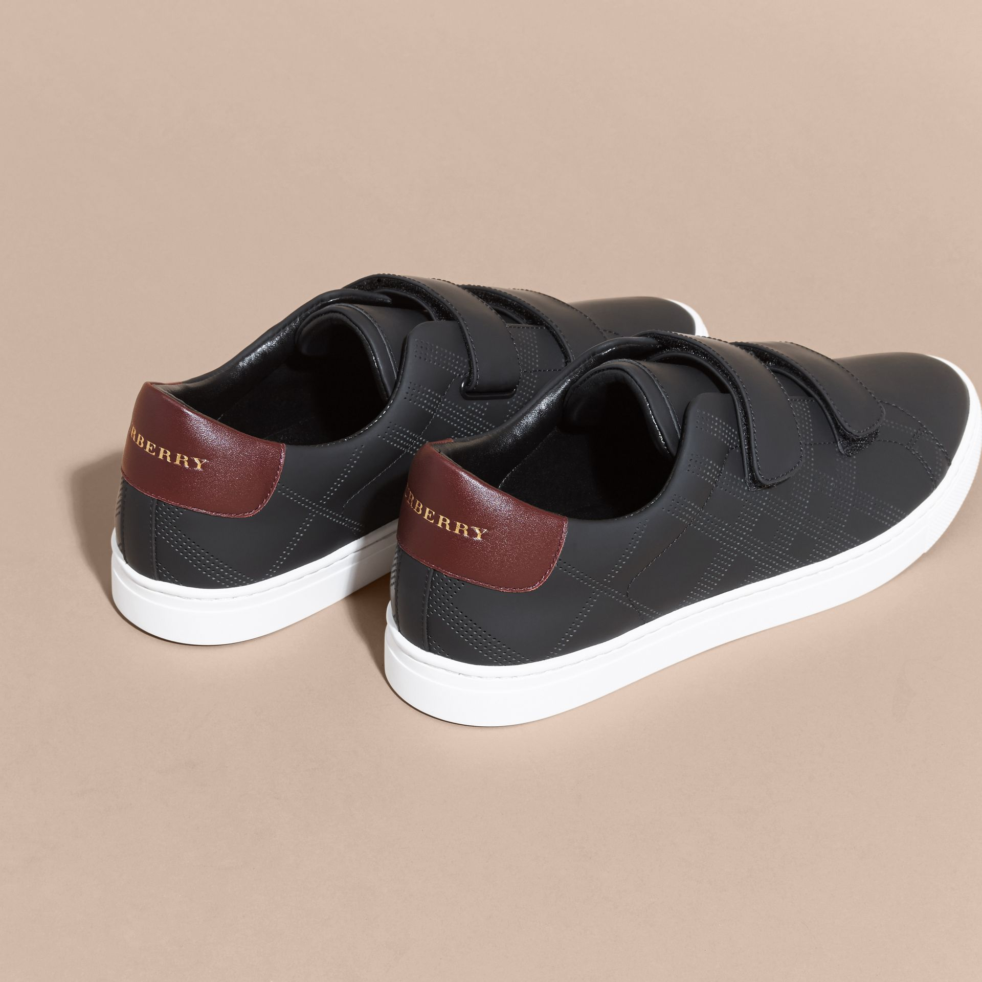 Perforated Check Leather Trainers Black/deep Claret Melange - gallery image 4