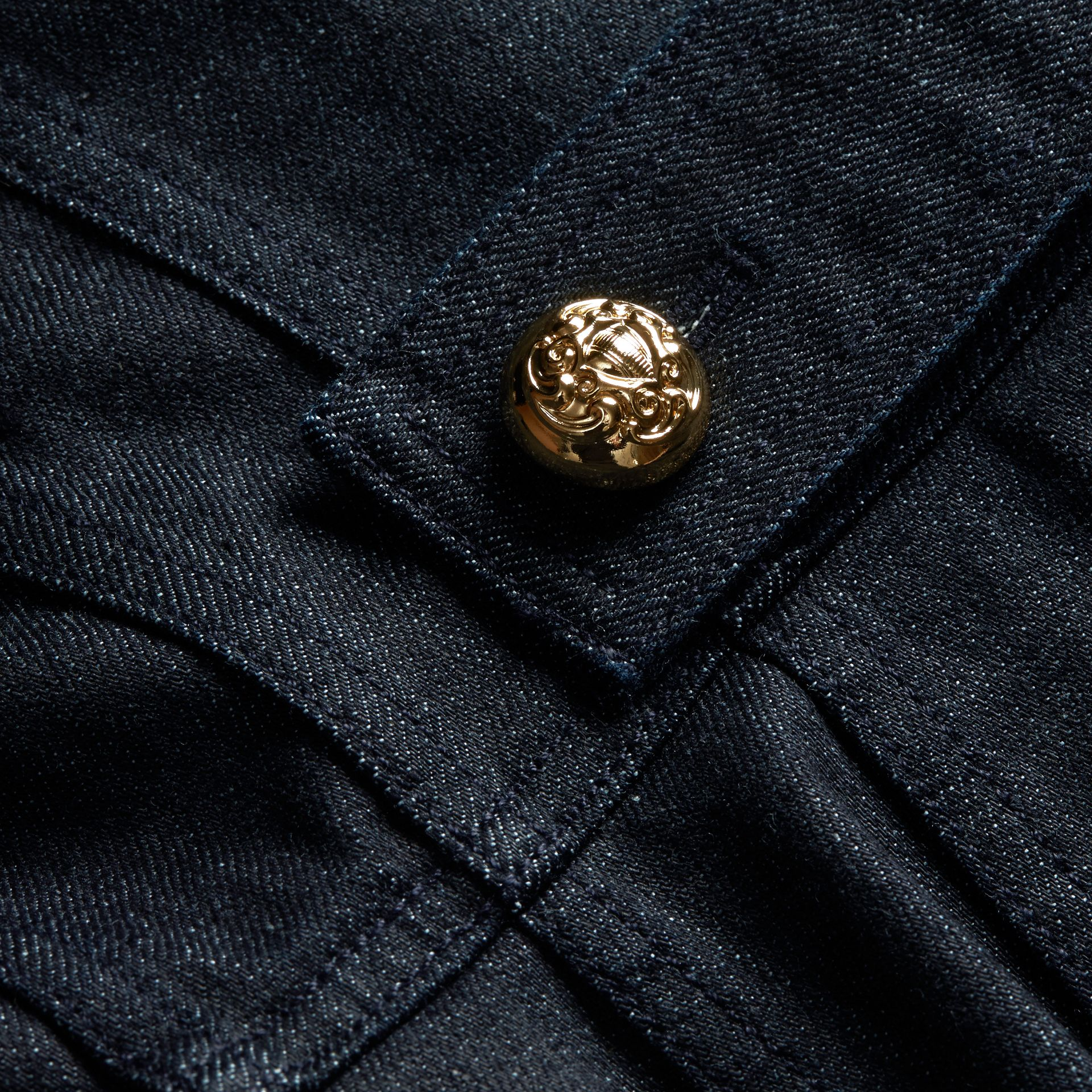 Indigo Stretch Denim Regimental Jacket - gallery image 2