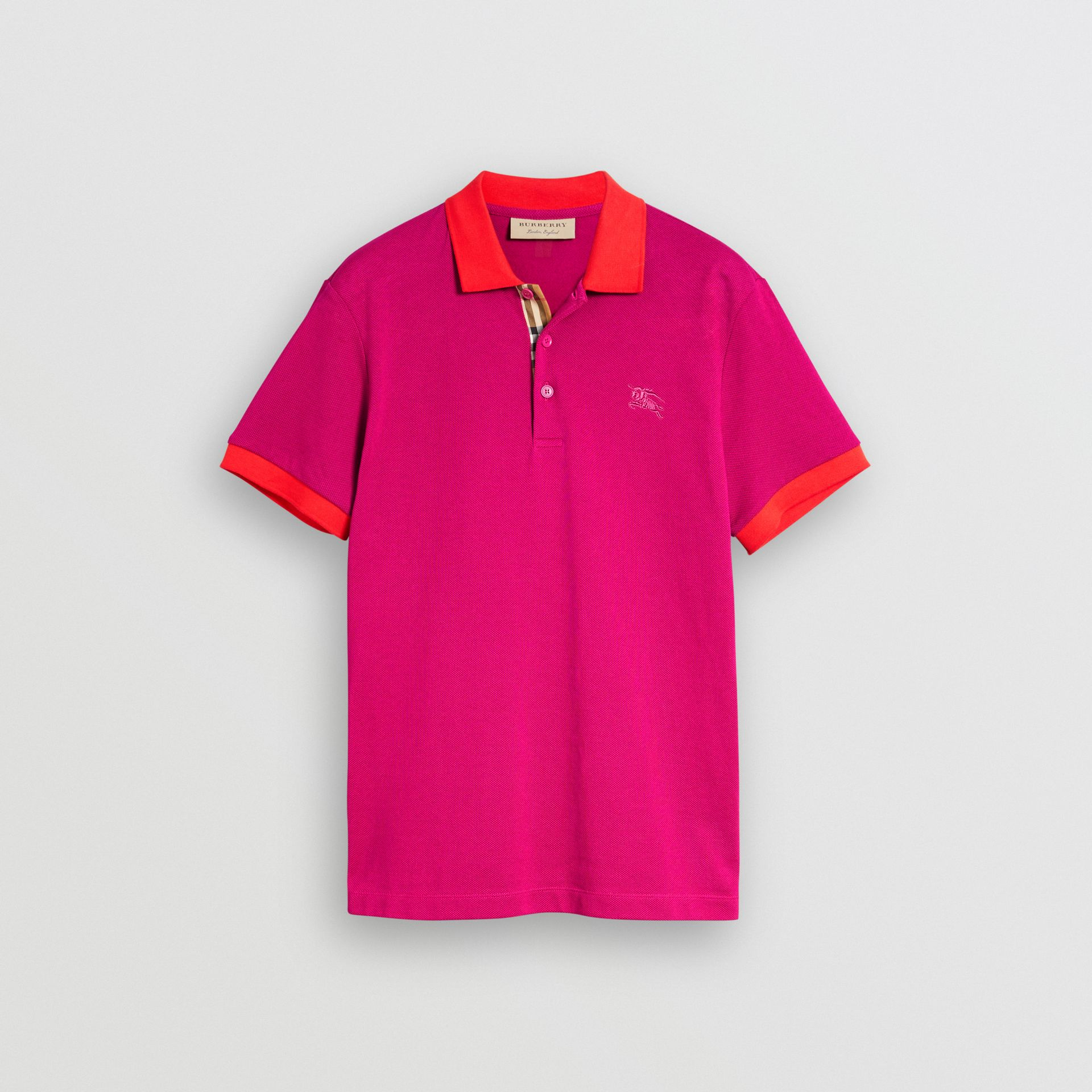 Contrast Collar Cotton Polo Shirt in Plum Pink - Men | Burberry United Kingdom - gallery image 3