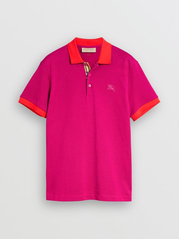 Contrast Collar Cotton Polo Shirt in Plum Pink - Men | Burberry United Kingdom - cell image 3
