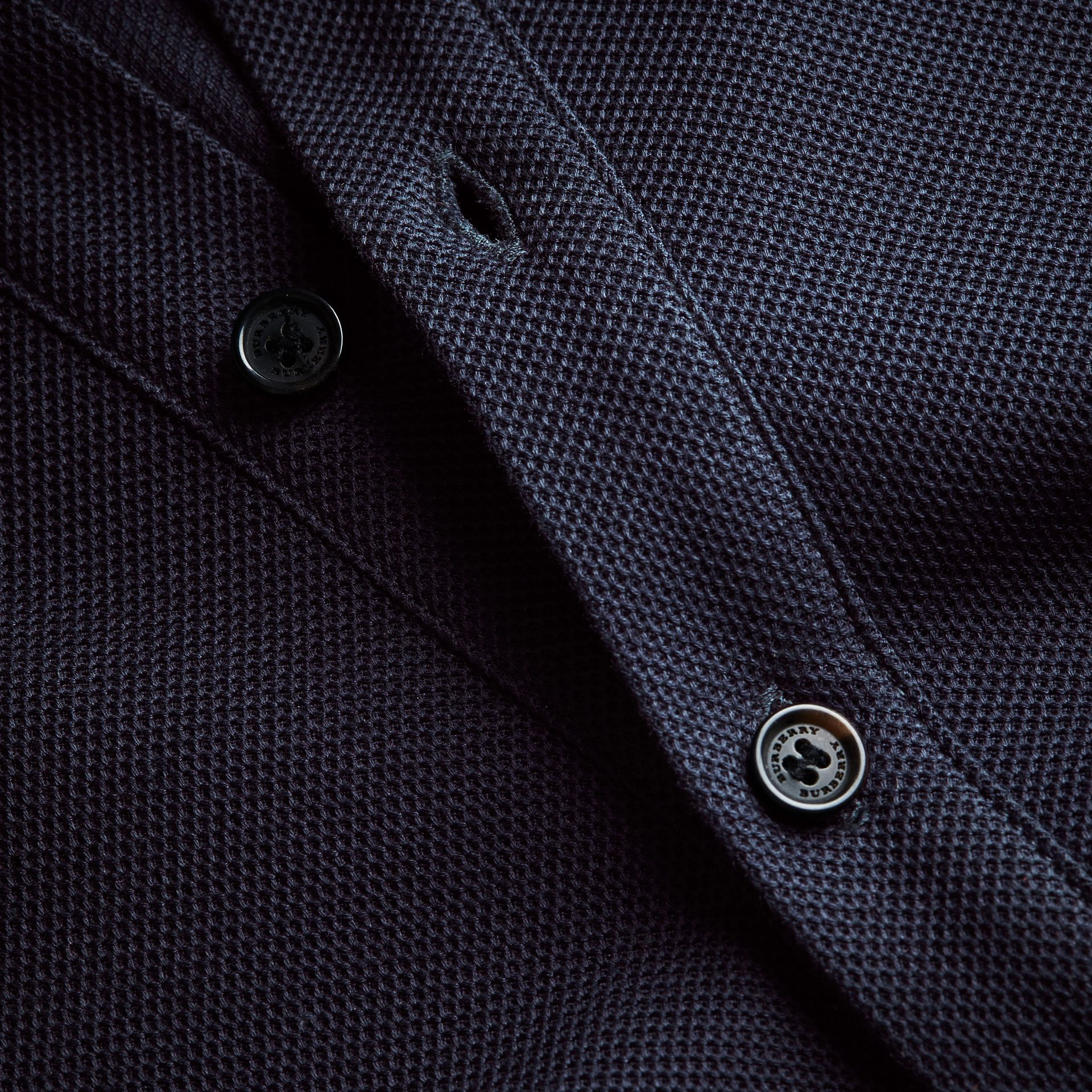 Striped Collar Cotton Piqué Polo Shirt in Navy - Men | Burberry - gallery image 2