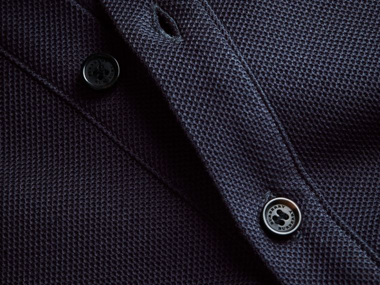 Striped Collar Cotton Piqué Polo Shirt in Navy - Men | Burberry - cell image 1