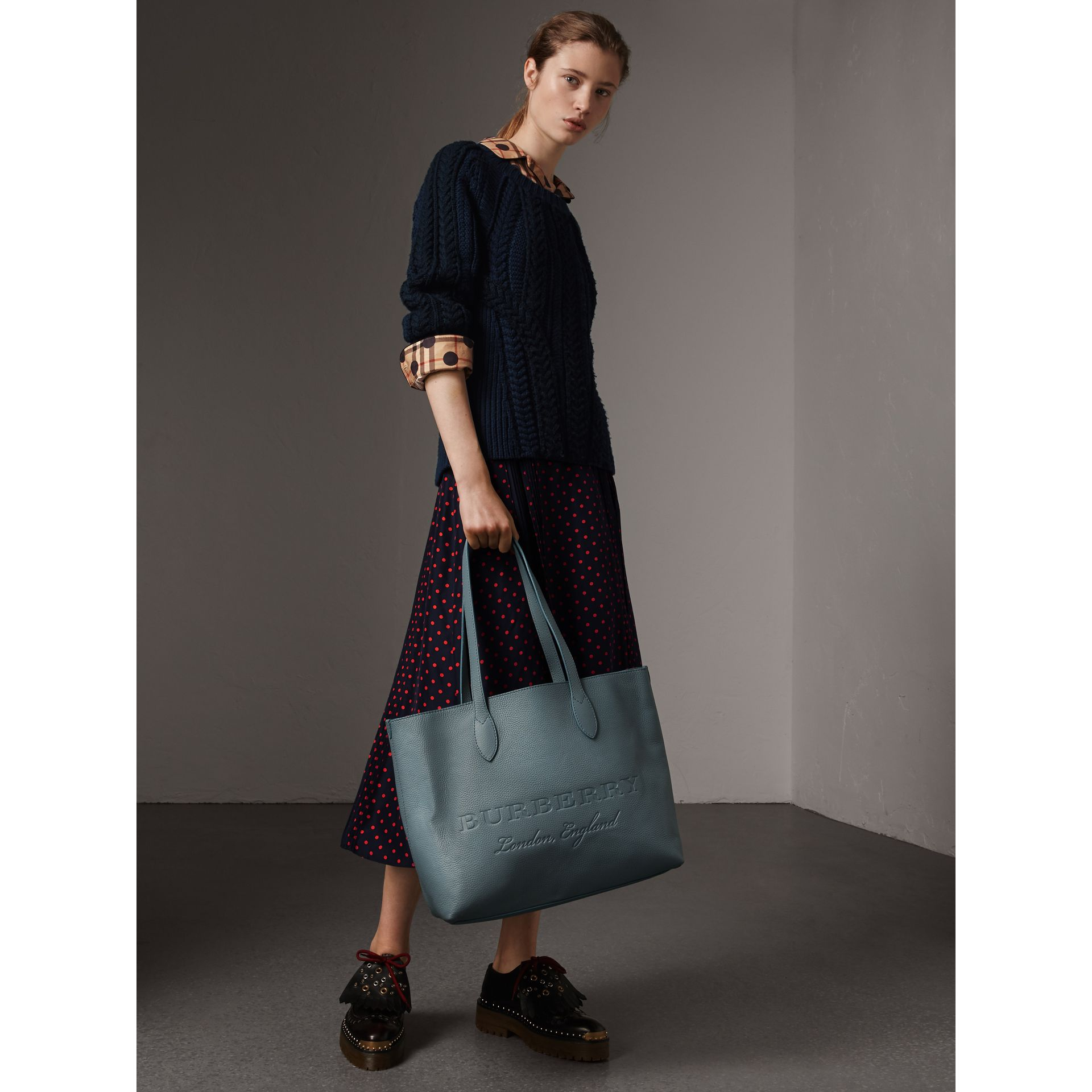 Medium Embossed Leather Tote in Dusty Teal Blue | Burberry - gallery image 3
