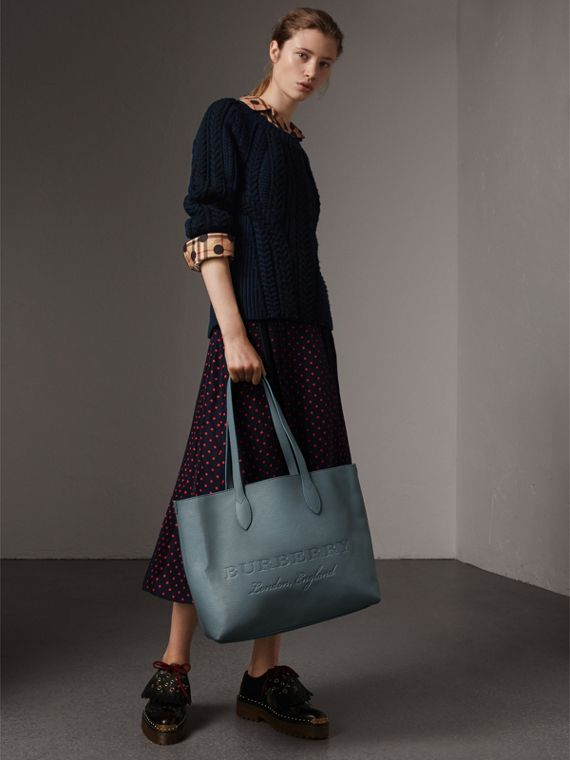 Large Embossed Leather Tote in Dusty Teal Blue | Burberry - cell image 2