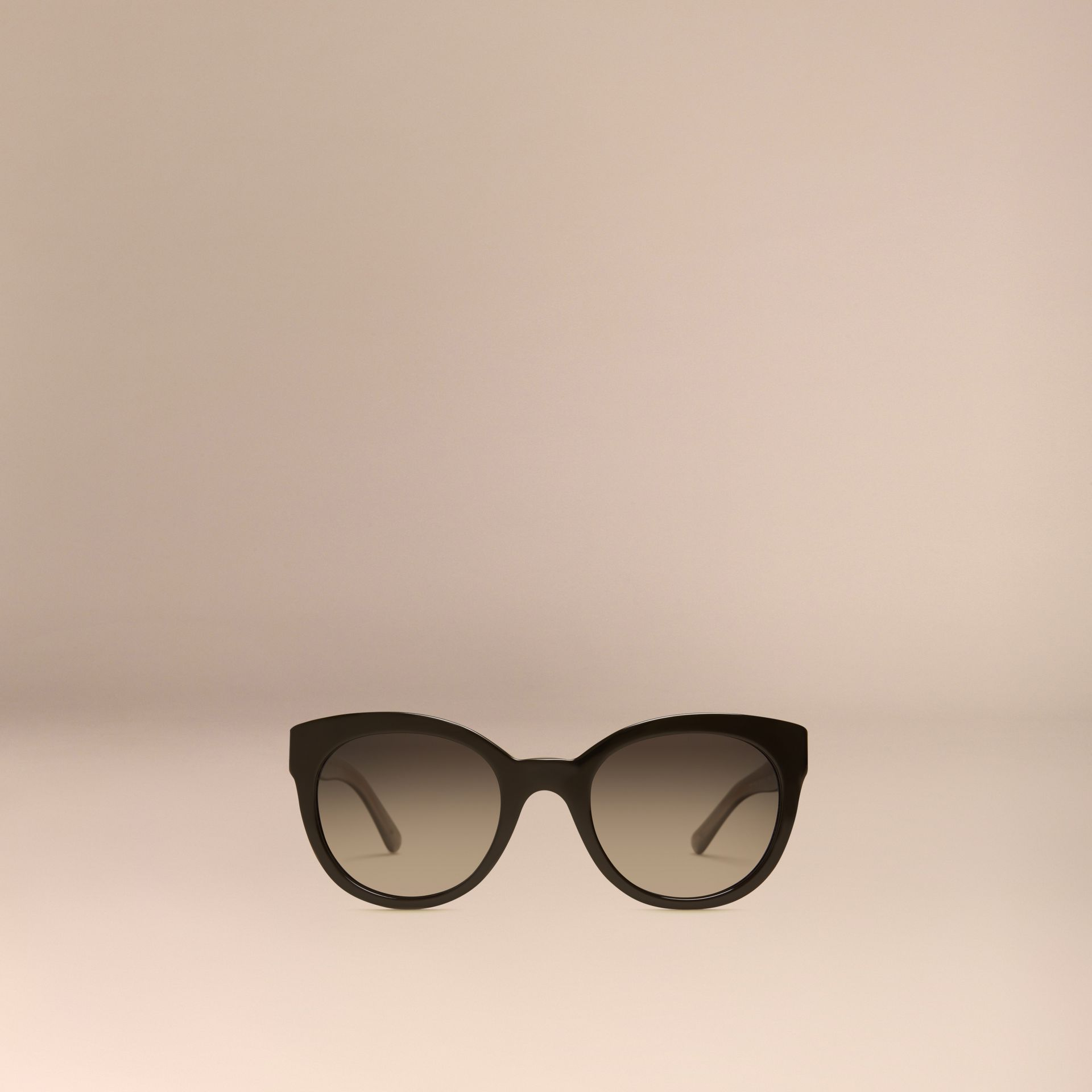 Black Check Detail Oval Polarised Sunglasses - gallery image 3