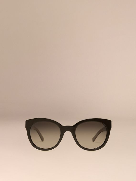 Black Check Detail Oval Polarised Sunglasses - cell image 2