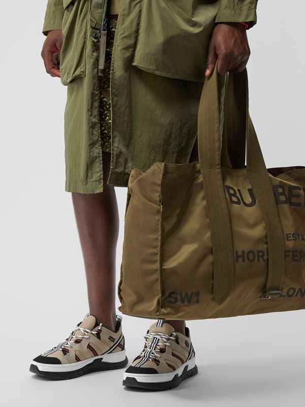 Belt Detail Horseferry Print Nylon Tote in Dark Military Khaki - Men | Burberry - cell image 2