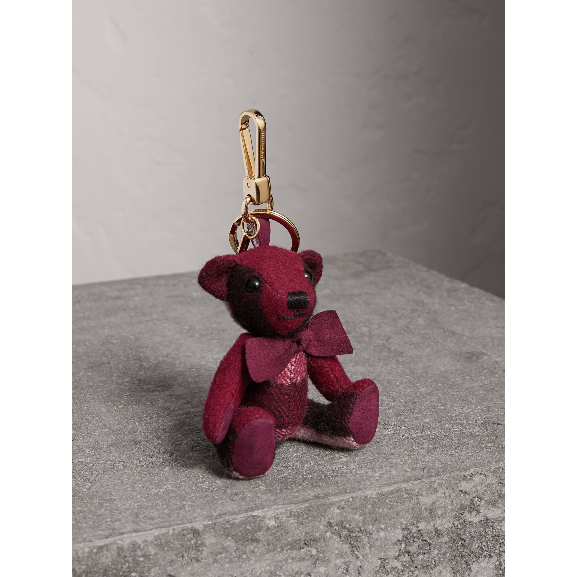 Thomas Bear Charm in Check Cashmere in Plum | Burberry Hong Kong - gallery image 1
