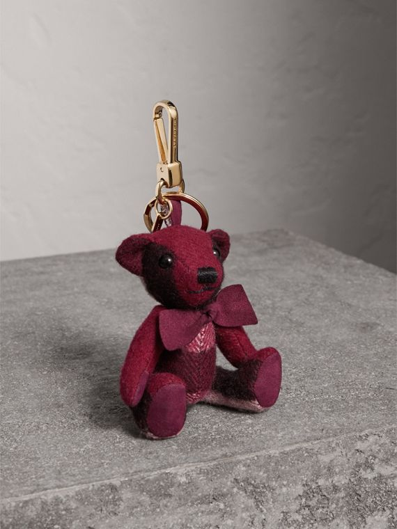 Thomas Bear Charm in Check Cashmere in Plum