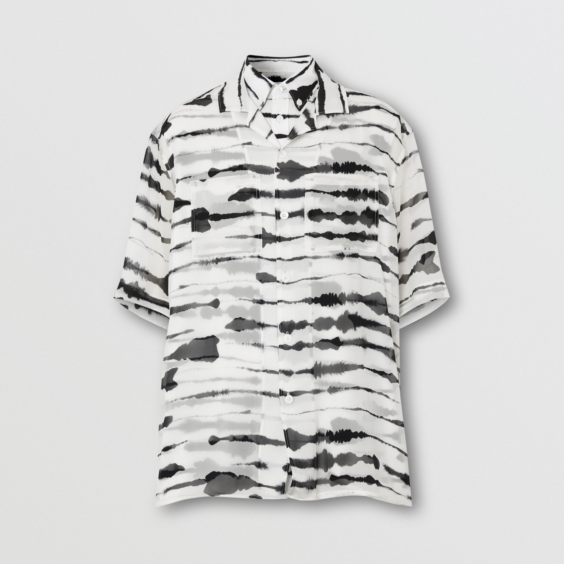 Short-sleeve Silk Overlay Watercolour Print Twill Shirt in Monochrome | Burberry United States - gallery image 3