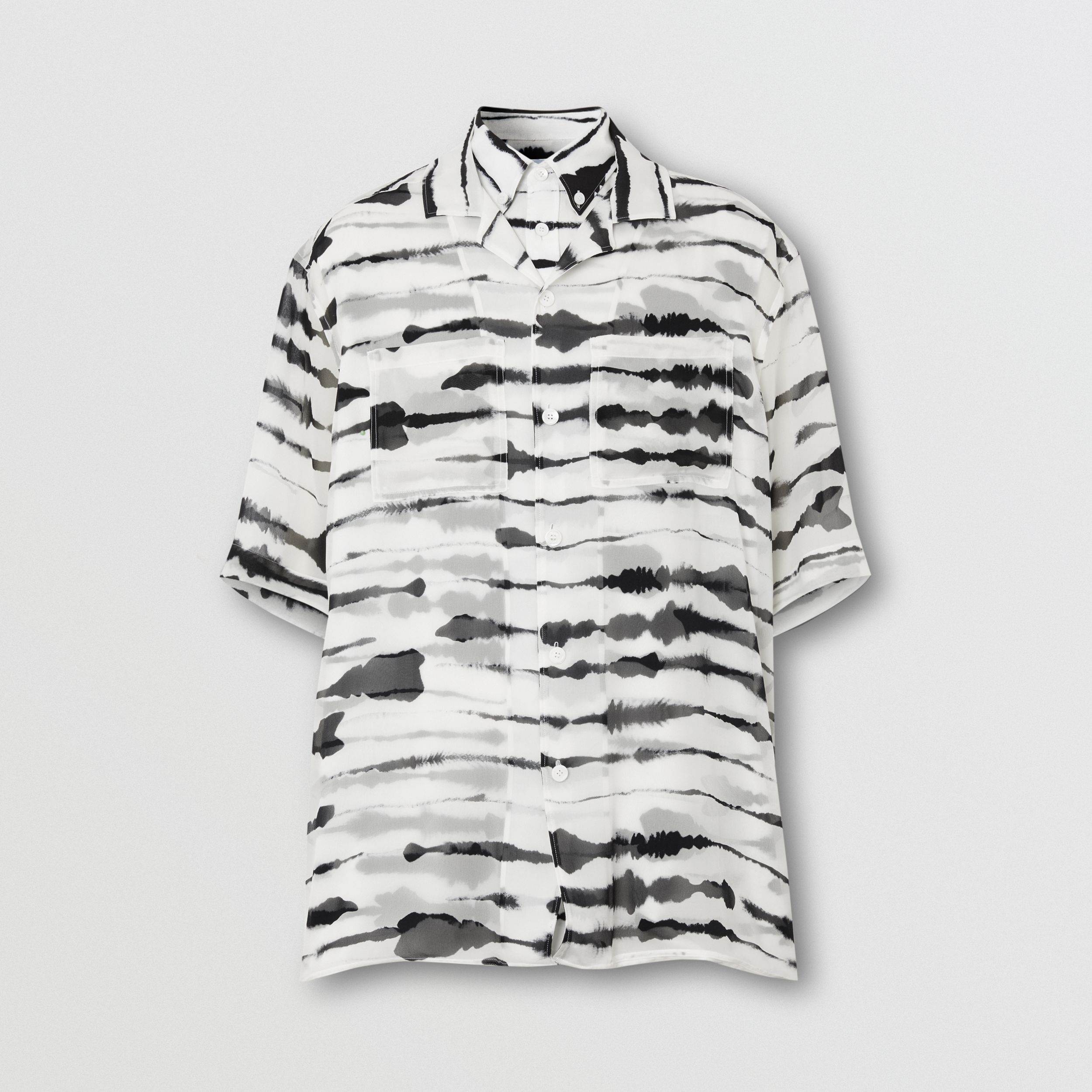 Short-sleeve Silk Overlay Watercolour Print Twill Shirt in Monochrome | Burberry - 4
