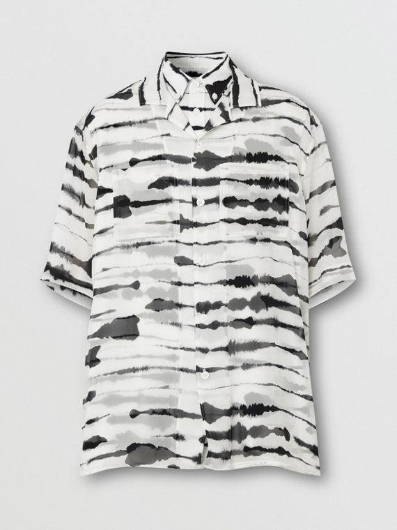 Short-sleeve Silk Overlay Watercolour Print Twill Shirt in Monochrome