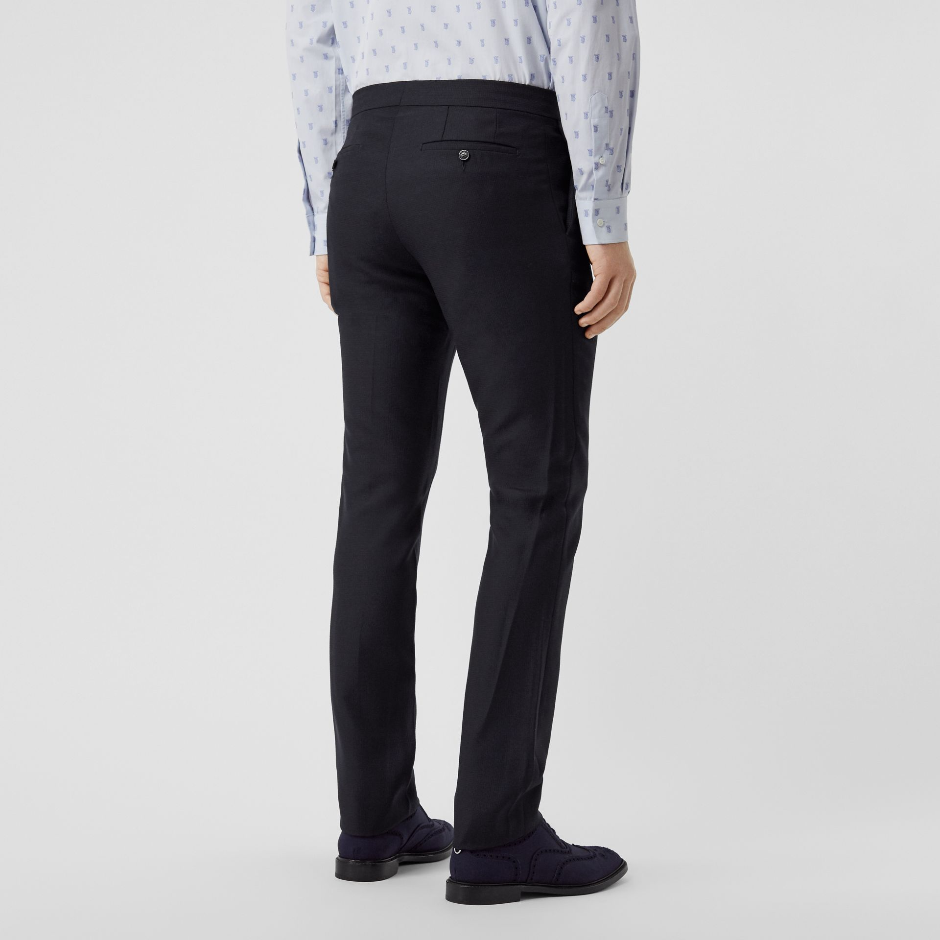 Classic Fit Triple Stud Wool Mohair Tailored Trousers in Midnight Blue - Men | Burberry - gallery image 2
