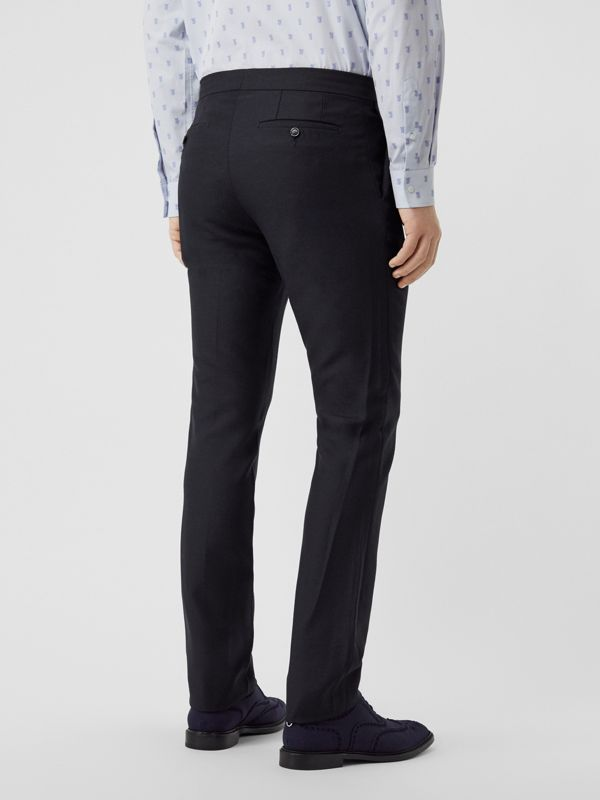 Classic Fit Triple Stud Wool Mohair Tailored Trousers in Midnight Blue - Men | Burberry - cell image 2