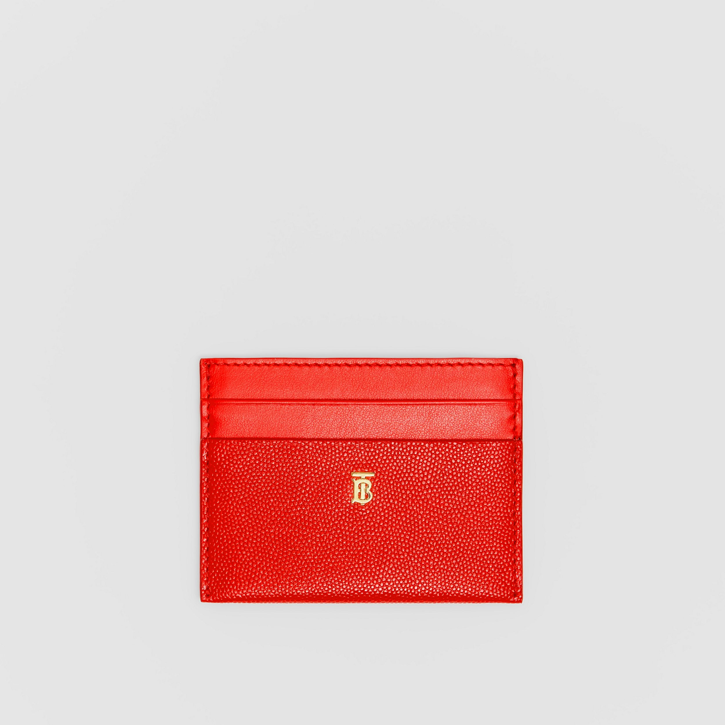 Monogram Motif Leather Card Case in Bright Red - Women | Burberry - 1