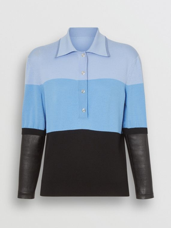 Long-sleeve Lambskin Detail Wool Polo Shirt in Blue