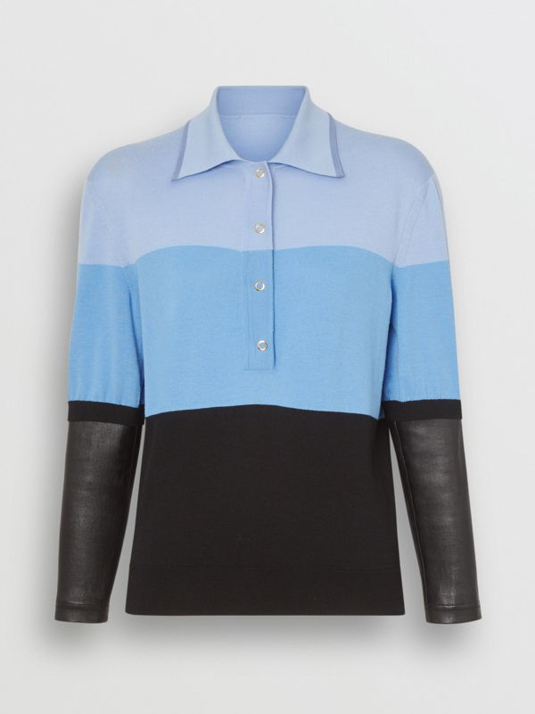 Long-sleeve Lambskin Detail Wool Polo Shirt in Blue - Women | Burberry - cell image 3
