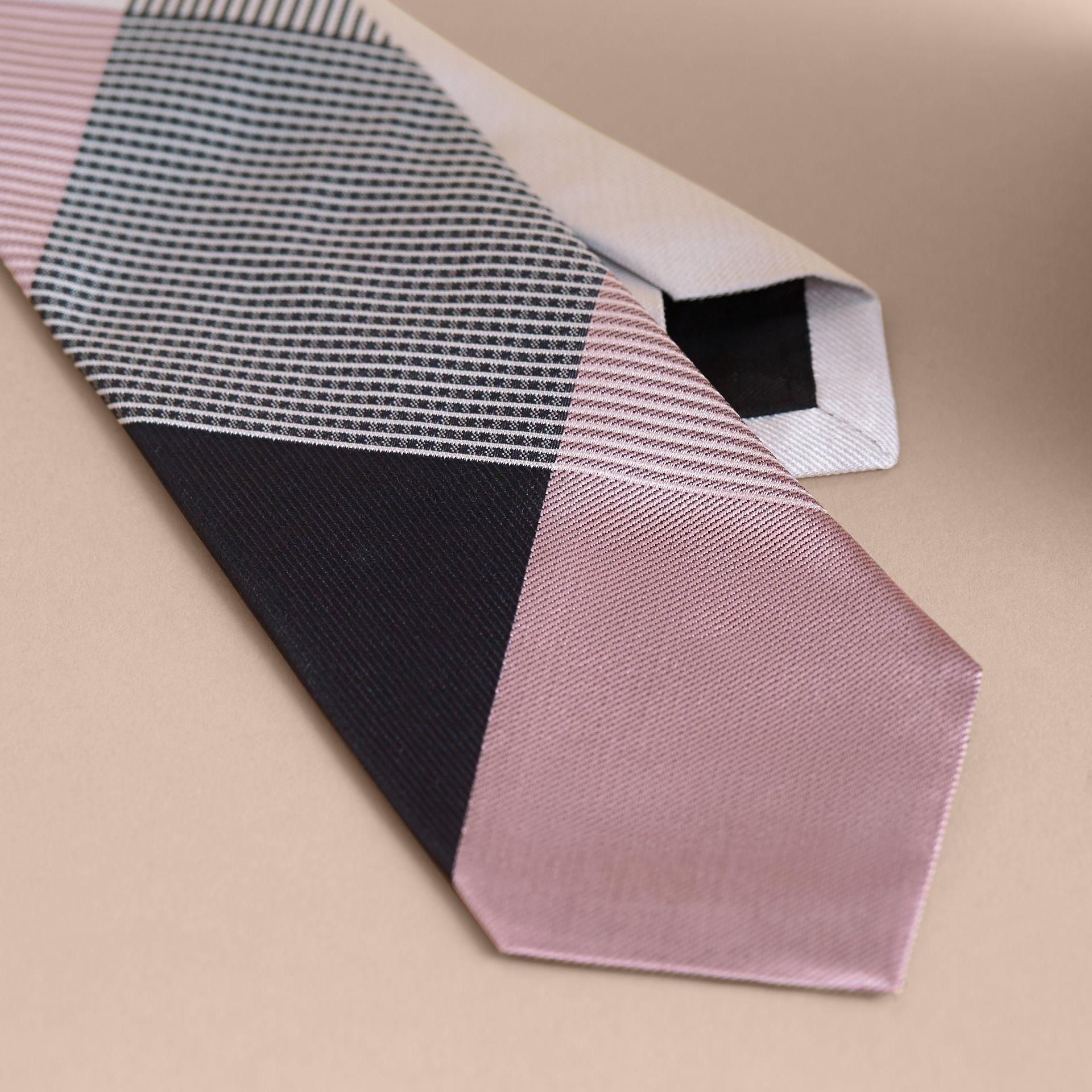 Modern Cut Gingham Check Silk Jacquard Tie in Apricot Pink - Men | Burberry - gallery image 2