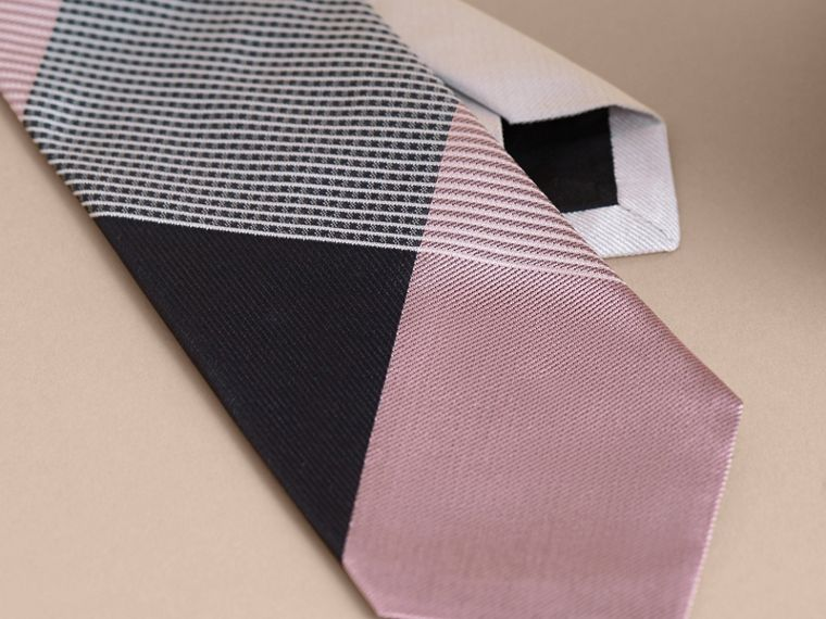 Modern Cut Gingham Check Silk Jacquard Tie in Apricot Pink - Men | Burberry Singapore - cell image 1