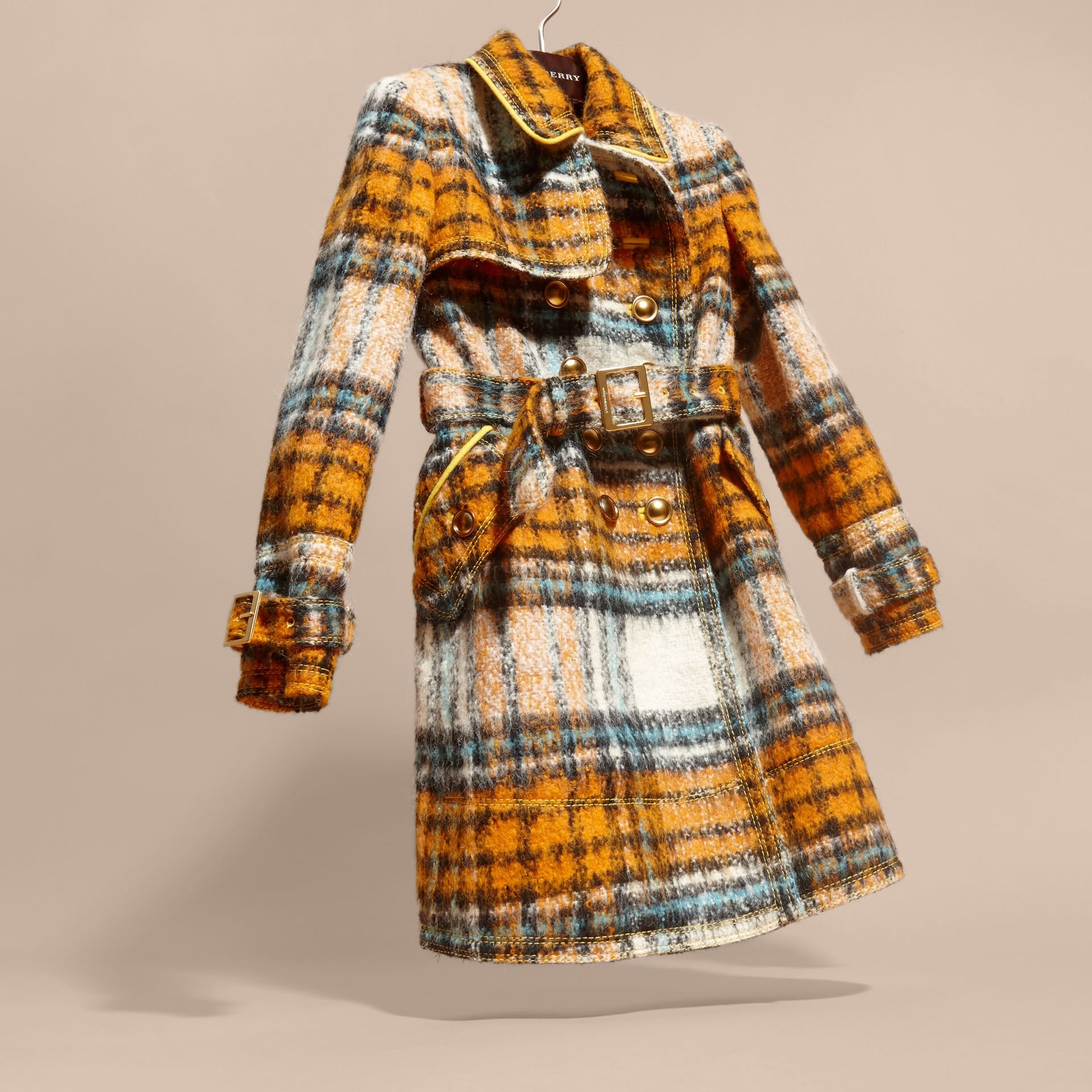 Orange umber Brushed Tartan Wool Mohair Blend Coat - gallery image 3