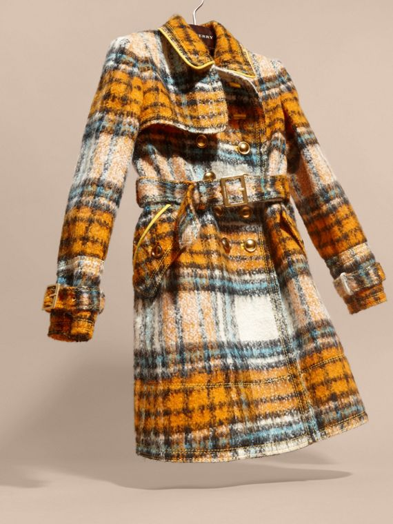 Orange umber Brushed Tartan Wool Mohair Blend Coat - cell image 2
