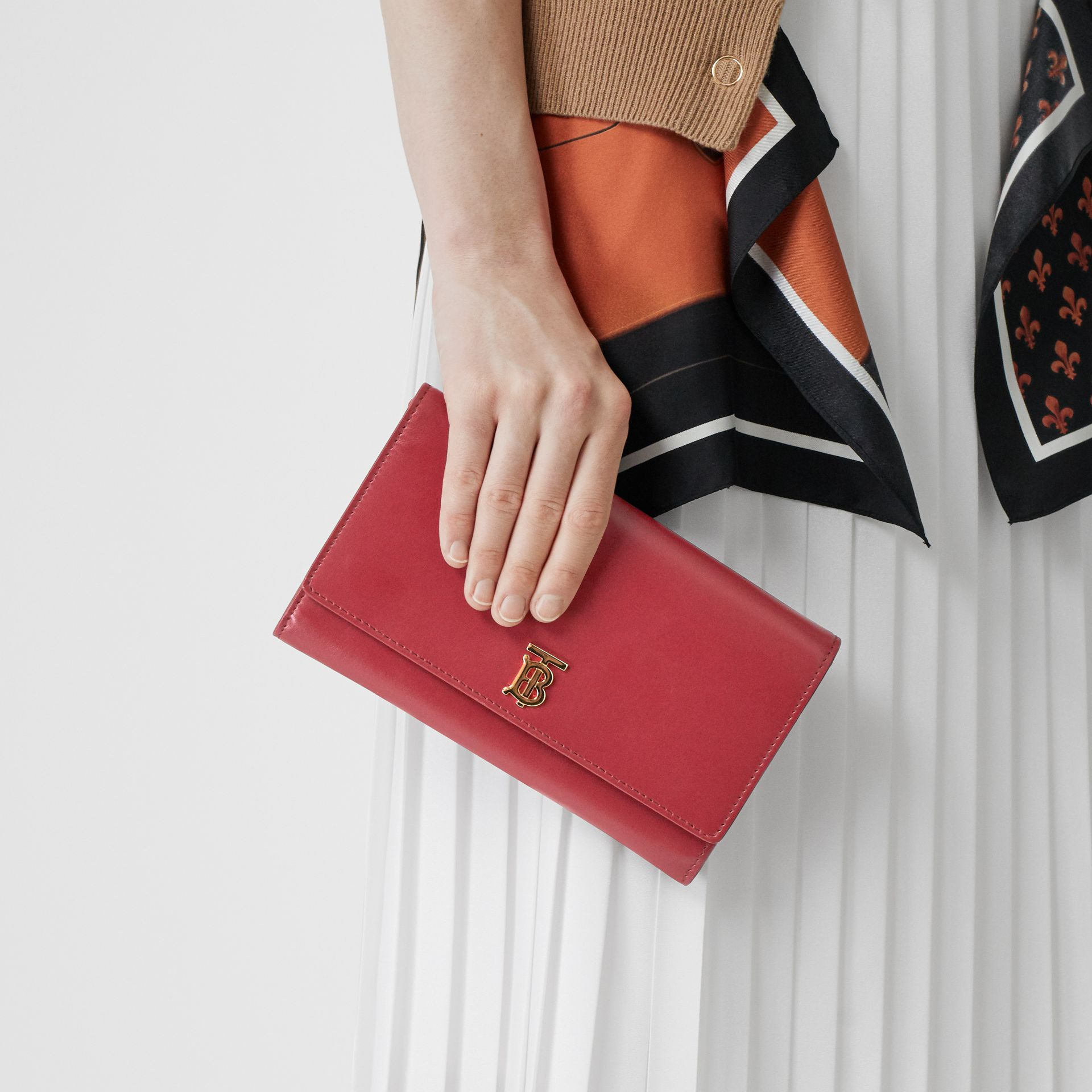 Monogram Motif Leather Wallet with Detachable Strap in Crimson - Women | Burberry Singapore - gallery image 2