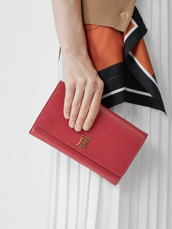 Monogram Motif Leather Wallet with Detachable Strap in Crimson - Women | Burberry - cell image 2