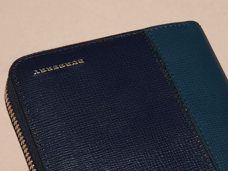 Dark navy/mineral blue Colour Block London Leather Ziparound Wallet Dark Navy/mineral Blue - cell image 1