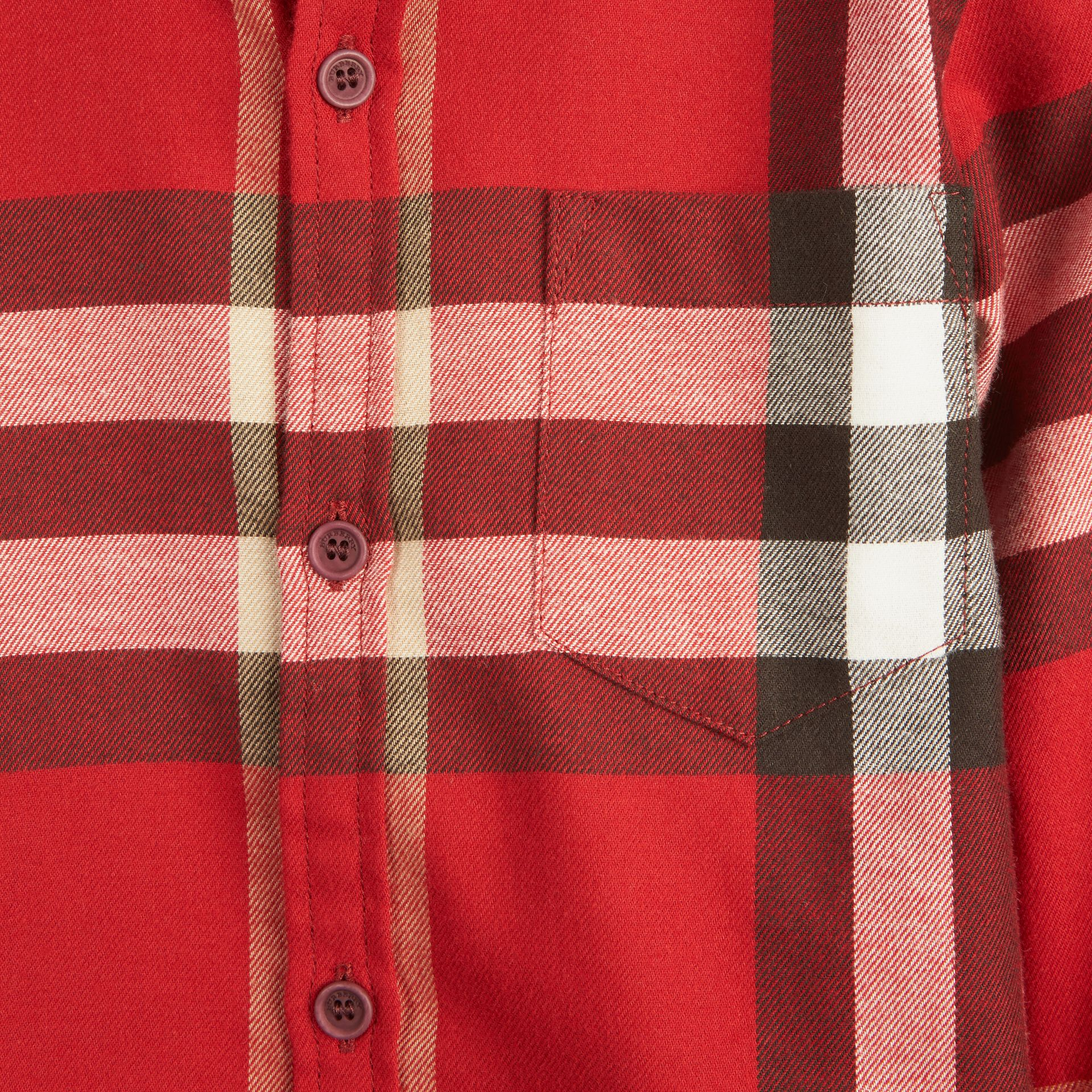 Check Cotton Flannel Button-Down Shirt in Parade Red - Boy | Burberry - gallery image 3