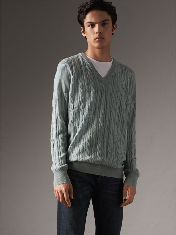 Cable and Rib Knit Cashmere V-neck Sweater in Powder Blue - Men | Burberry Canada